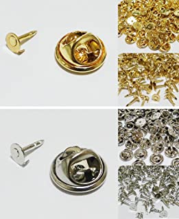 ピンバッジ 留め具 キャッチ バタフライ型 & 針付き 100個セット 銀 シルバー /V615-B (100個セット, シルバー(銀))