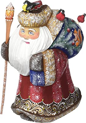 G. Debrekht Happpy Traveler with Squirrel Hand-Painted Wood Carving