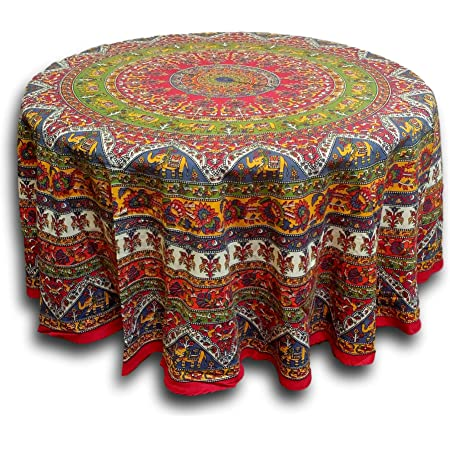 Shree textile store Indian mandala Round Dining Tablcloth 100/% Cotton Traditional Ethnic Mandala hand Printed Round Table Cover with Fringed