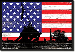 Iwo Jima WWII Veterans Memorial Military Flag Shabby Chic Canvas Print Home Decor Man Cave Wall Art Collectible Decoration Artwork Gifts, Black Frame, 7