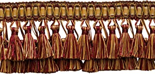 DÉCOPRO 5 Yard Value Pack of Elaborate Wine (deep red), Gold 3 inch Two Tier Tassel Fringe - Carmine Gold 1253 (15 Ft / 4.5 Meters)