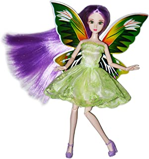 Eledoll Garden Fairy Lilly Doll Deluxe Collector Doll 1/6 Scale Purple Hair Green 3D Eyes 11 inch Fully Poseable Doll BJD Ball Jointed Doll Fashion Doll