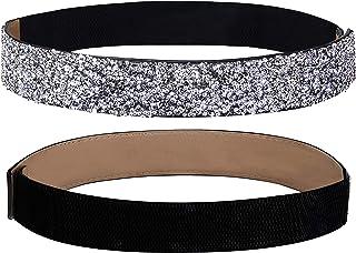 Lovful Women Rhinestone Stretch Belt Bling Crystal Elastic Waistband Dress Belt