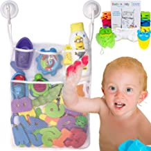 Lilly's Love Bath Toy Organizer Kit - Quick Dry Mesh Bathtub Toy Holder + Bath Letters and Numbers + Cute Frog Washing Poof + Crab Faucet Spout - 3 Soap Pockets + Toy Bin + Locking Hooks