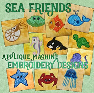Threadoodle Embroidery Designs - Applique Sea Friends - Multiformat Machine Embroidery Pattern CD includes ART ART70 PES JEF EXP XXX VIP HUS DST For the 4x4 Hoop