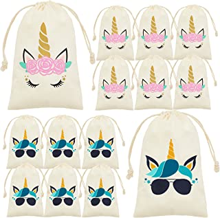 My Greca Unicorn party bags supplies - 12 party favor bags for treats, gifts and candy. Drawstring goodie bags for boys an...