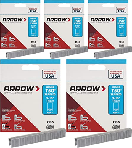 Arrow Fastener 509 Genuine T50 9/16-Inch Staples, 1,250-Pack 5 Pack