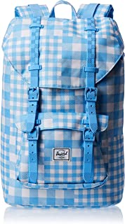 Herschel Supply Co. Little America Flapover Backpack, Gingham Alaskan Blue/Rubber, Mid-Volume 17L