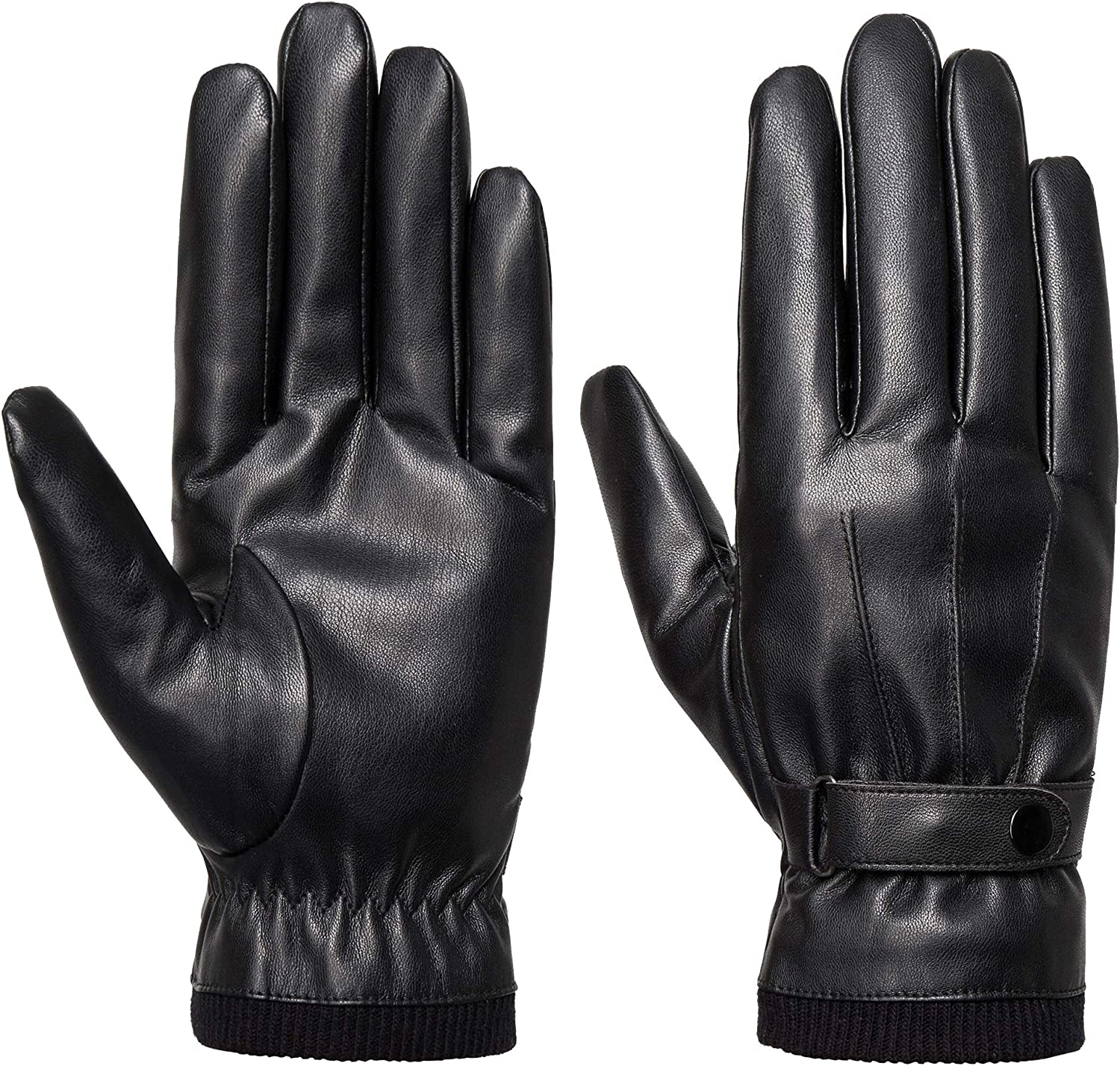 SANKUU Men's Winter Black Gloves Leather Touchscreen Snap Closure Cycling Glove Outdoor Riding Warm Waterproof Gloves