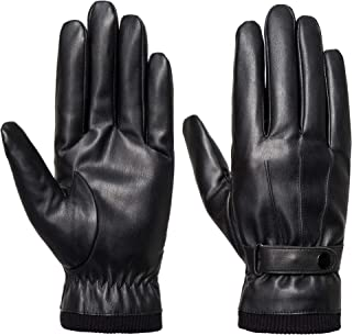SANKUU Men's Winter Black Gloves Leather Touchscreen Snap Closure Cycling Glove..