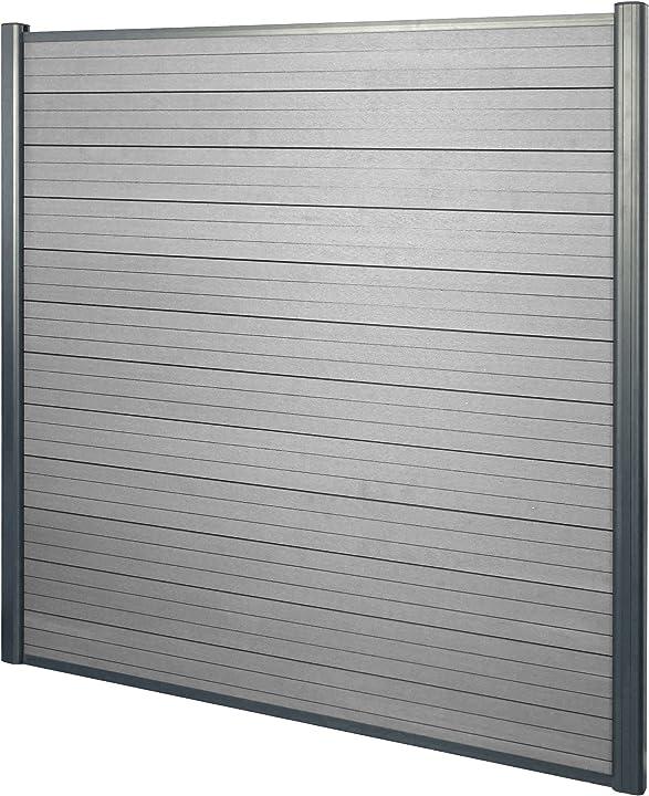 Frangivento pannello privacy sarthe wpc alluminio premium 190cm grigio mendler 54410+54411+54412