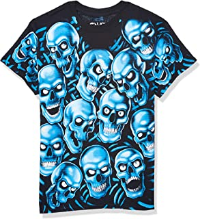 Liquid Blue Skull Pile Blue Fantasy All Over Print Short Sleeve T-Shirt