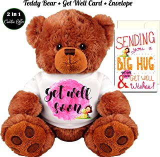 Get Well Soon Teddy Bear and Get Well Wishes Card Gift: Medium Teddy Bear Stuffed Animal : 5