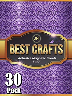 JH Best Crafts Adhesive Magnetic Sheets | Flexible Magnet with Adhesive Backing | 8 x 10 Inch Magnets for Crafts and Pictures | Cut to Any Size | Pack of 30