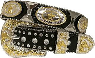 New Mens Western Cowboy Cowgirl Texas Star Silver Tie Concho Longhorn Shiny Leather Belt