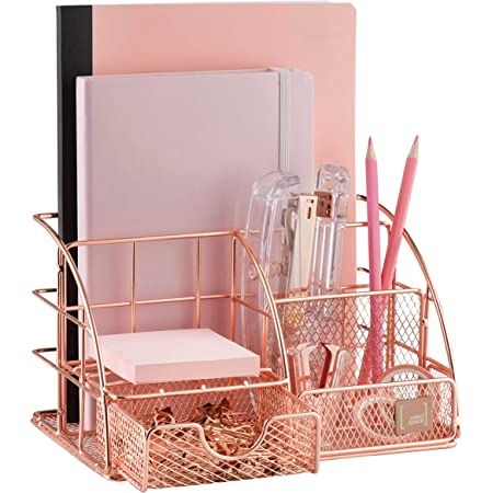 Mindspace Office Desk Organizer with 6 Compartments + Drawer with matching Paper Clips & Binder Clips | The Mesh Collection, Rose Gold
