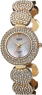 Women's Diamond and Crystal Watch - 2 Genuine Diamonds Hour Marker on Mother-of-Pearl Dial with Crystal Accented Bracelet Watch - BUR109
