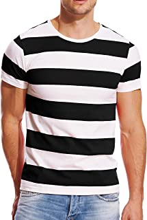 Striped T Shirt for Men Wide Stripe Crew Neck Tee Slim Fit Cotton Top Casual