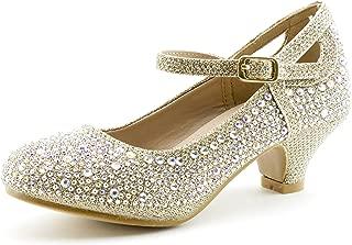 Jemma-01K Girls Rhinestone Platform Peagent Dress Shoes