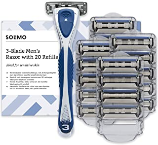 Amazon Brand - Solimo Male 3 blade razor with 20 cartridges