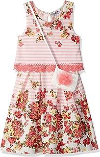 فستان بناتي من الدانتيل بطباعة ورود كبيرة بدون أكمام من Beautees