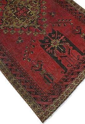 Noori Rug Vintage Yoneiber Red/Drk. Brown Rug, 3'8 x 6'7