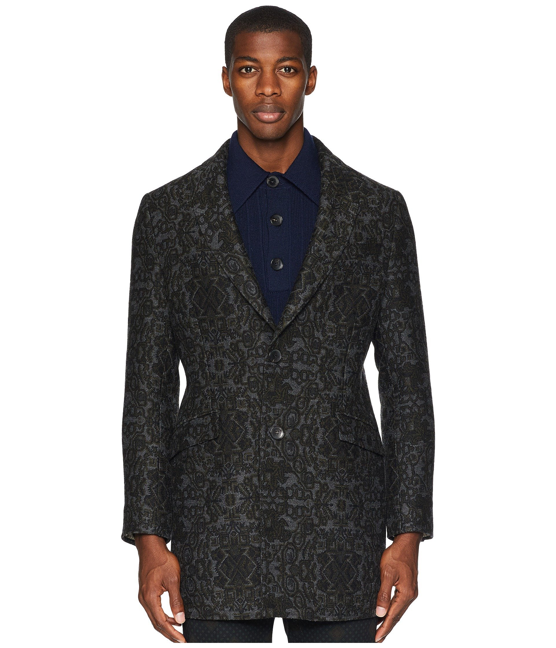 Etro Etro Brocade Brocade Grey Overcoat Ydw7nRq