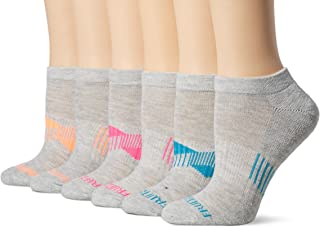 Fruit of the Loom Everyday Active No Show Socks-6 Pair Pack, Grey,Blue, Pink, Melon, Women's Shoe Size: 4-10