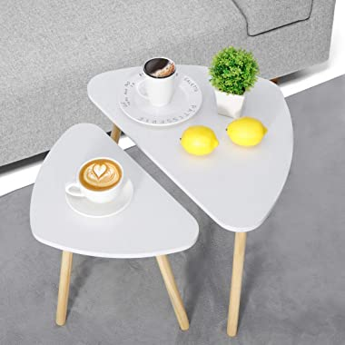 SUPER DEAL Set of 2 Nesting Table Triangle End Table Coffee Side Table Stylish Nightstand for Living Room, Bedroom, Office