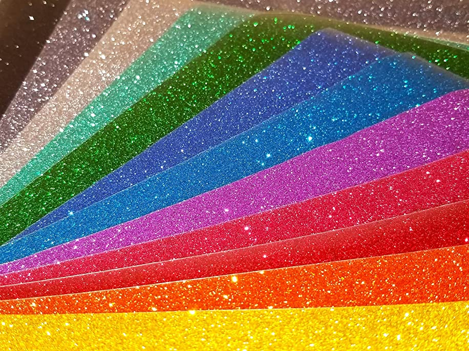 Glitter Heat Transfer Vinyl HTV, 12 Color Bundle Pack (9.8 x 9.8 Inch Sheets) By ARIITAYE - Easy Use With Heat Press Machine And Iron On For T Shirts