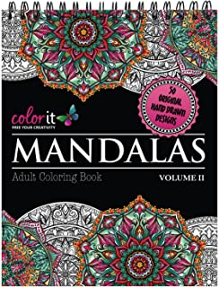 Mandalas II Adult Coloring Book - Features 50 Original Hand Drawn Designs Printed on Artist Quality Paper, Hardback Covers...
