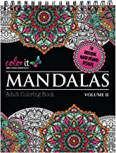 Mandalas II Adult Coloring Book - Features 50 Original Hand Drawn Designs Printed on Artist Quality Paper with Hardback Covers, Top Spiral Binding, Perforated Pages, and Bonus Blotter by ColorIt