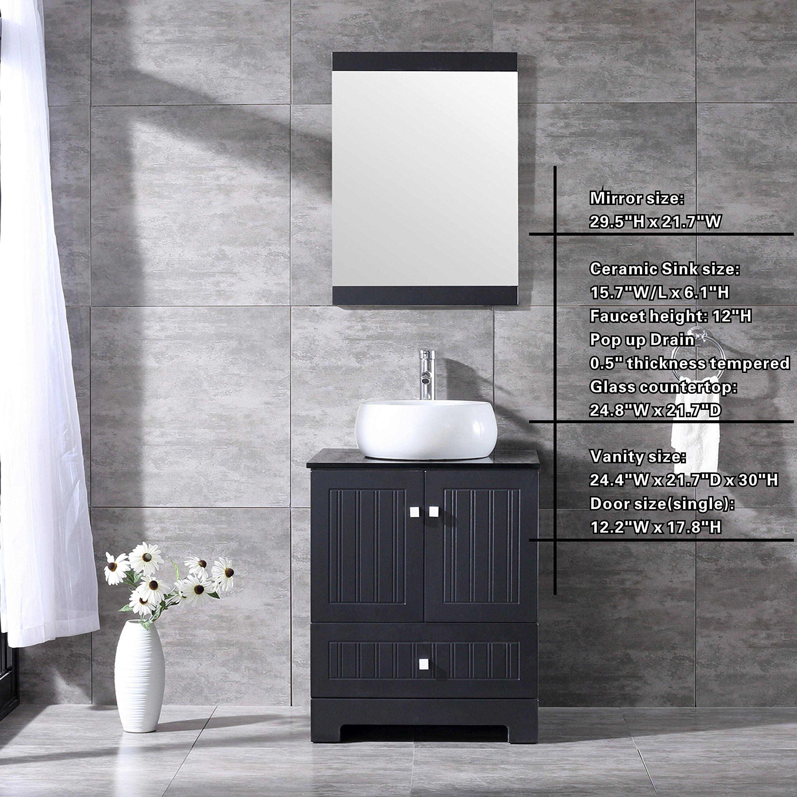 Bestmart Inc 24 Bathroom Vanity Cabinet Ceramic Vessel Round Sink Basin Faucet Mirror And Free Drain Buy Online In Aruba At Aruba Desertcart Com Productid 121833246