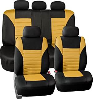 FH Group FB068YELLOW115 Yellow Universal Car Seat Cover (Premium 3D Air mesh Design Airbag and Rear Split Bench Compatible)
