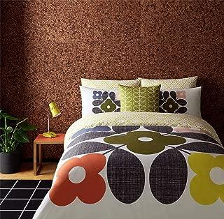 Orla Kiely Placement Flower Tile Orange Yellow USA Queen Size (Duvet Comforter Cover 230CM X 220CM - UK King Size) & 2X Pillowcase Pair