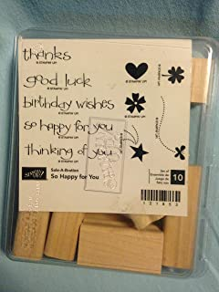 Stampin' Up SO HAPPY FOR YOU Set of 10 Decorative Rubber Stamps Retired