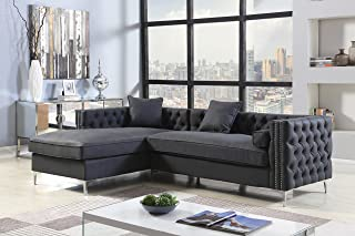 Iconic Home Da Vinci Left Hand Facing Sectional Sofa L Shape Chaise PU Leather Button Tufted with Silver Nailhead Trim Silvertone Metal Leg with 3 Accent Pillows, Modern Contemporary, Black