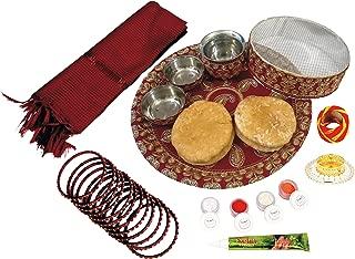 Ramya's Complete Karva Chauth kit - Thali, Chanani, Kalash, Feeki & Meethi Mathi, Katori, Diya, Chunni, Mehndi, Bangles and Puja items (7500A)