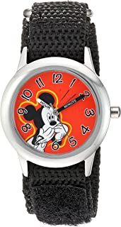 Disney Boys' Mickey Mouse Stainless Steel Analog-Quartz Watch with Nylon Strap, Black, 16 (Model: WDS000155