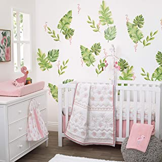 Nojo Tropical Flamingo Pink & White 100% Cotton 4Piece Nursery Crib Bedding Set, Embroidered Quilt, Fitted Sheet, Dust Ruffle, & Diaper Stacker, Pink, White, Grey