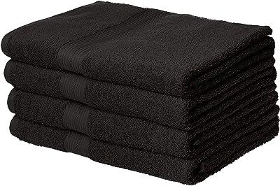 AmazonBasics Fade-Resistant Cotton Bath Towel - 500 GSM - Pack of 4, Black