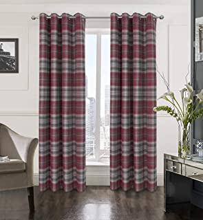 Alexandra Cole Plaid Textured Grommet Curtain Set of Two Panels for Bedroom Living Room Grey and Red 54X84