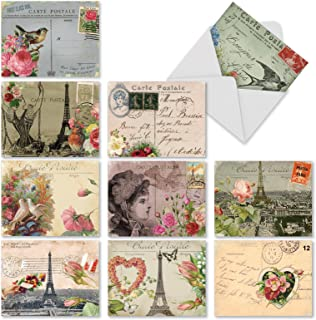 Assortment of 10 Blank Greeting Cards with Vintage Parisian Collage Design - 'Parisian Postcard' Stationery Set of Parisian-Themed Note Cards with Envelopes M2355OCBsl