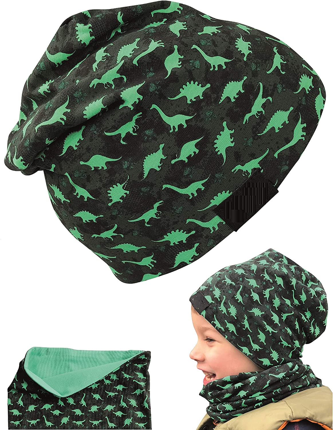 HECKBO Children boy Beanie hat & Loop Scarf Set - Suitable for Spring, Summer, Fall - Reversible hat Dinosaur - 2 to 7 Years - 95% Cotton - Soft & Easy-Care Stretch Material Green, Black