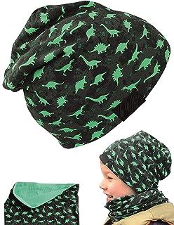 HECKBO® Cappello, Beanie per Bambini + Girocollo | Ideale in Primavera, Estate, Autunno | Berretto con Stampa Dinosauri, R...
