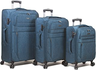 Dejuno Aurora Lightweight Denim 3-Piece Spinner Luggage Set