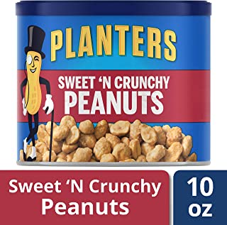 Planters Sweet N' Crunchy Peanuts, 10 oz Canister , Pack of 6