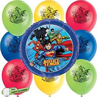 Unique Justice League Party Balloons Bundle | Multicolor Foil & Latex Balloons | Kids Birthday Party Officially Licensed b...