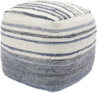 Christopher Knight Home 307622 Alma Cube Pouf, Boho, Blue and White Recycled Denim and Cotton Chindi, Sequins