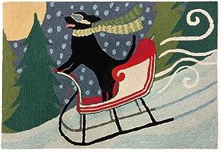Liora Manne Frontporch Front Porch Winter Sledding Dog Multi Indoor/Outdoor Rug, 2' X 3', Multiple Colors